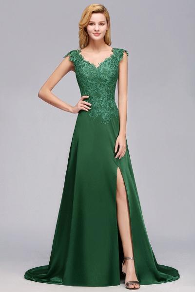 BM0796 A-line Lace Front-Slit Long Bridesmaid Dress_1
