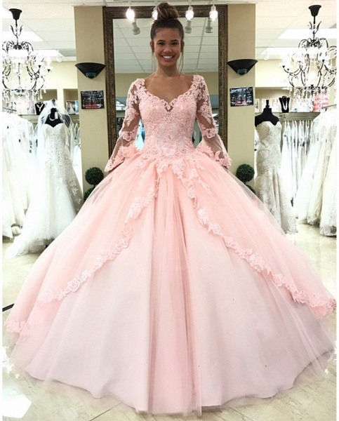 Fascinating V-neck Tulle Ball Gown Quinceanera Dress_1
