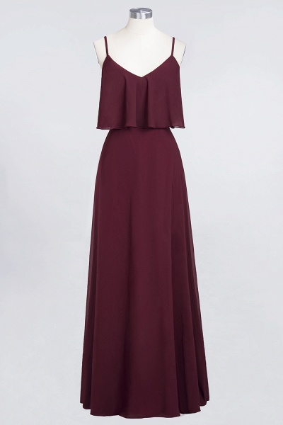 BMbridal Sexy Chiffon V-Neck Burgundy Chiffon Bridesmaid Dresses with Spaghetti Straps_7