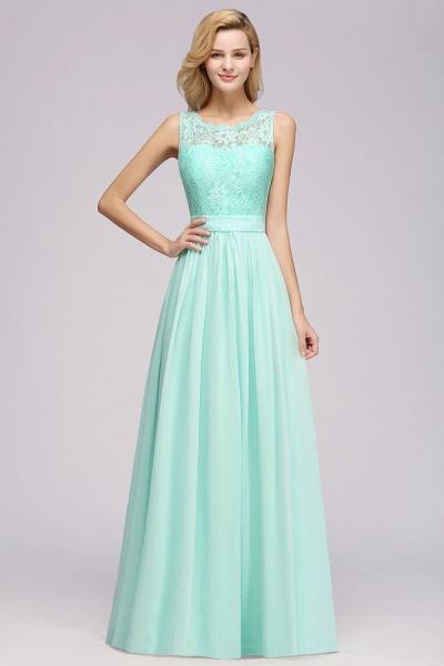 BM0834 Chiffon A-Line Lace Scalloped Sleeveless Long Ruffles Bridesmaid Dress_5