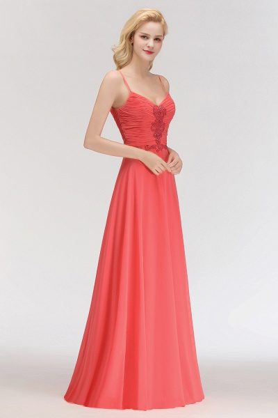 BM0084 Elegant Spaghetti Straps Ruffles Appliques Bridesmaid Dress_5