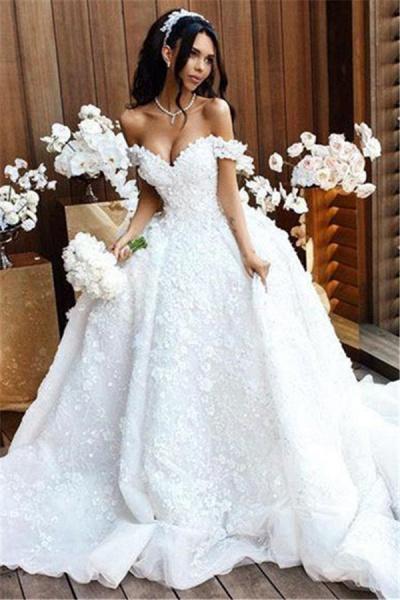 Off The Shoulder Appliques Luxury Wedding Dresses Princess Ball Gown Wedding Dress_3