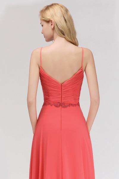 BM0084 Elegant Spaghetti Straps Ruffles Appliques Bridesmaid Dress_8