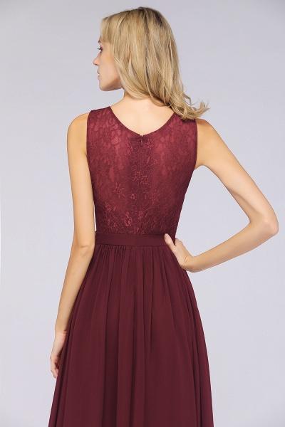 A-Line Chiffon Lace V-Neck Sleeveless Floor-Length Bridesmaid Dress with Ruffles_6