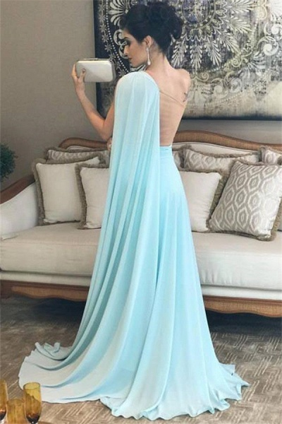 Modest One Shoulder A-line Evening Dress_2