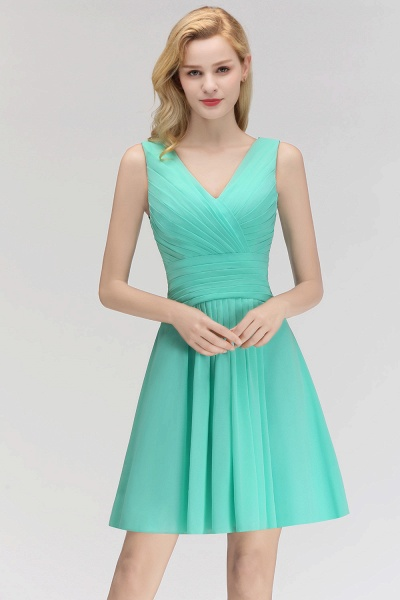 BM0061 A-line Ruffles Sexy V-Neck Sleeveless Short Bridesmaid Dress