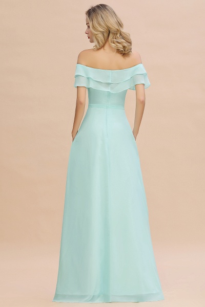 BM0775 Off-the-Shoulder Front Slit Mint Green Long Bridesmaid Dress_52