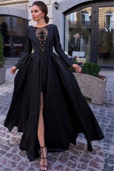 Latest Jewel Split Front A-line Prom Dress_1