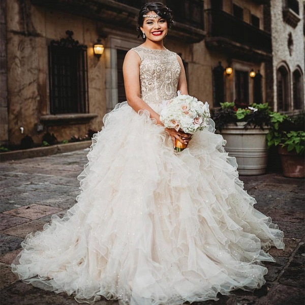 Modest Jewel Tulle Ball Gown Quinceanera Dress_1
