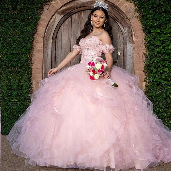 Excellent Off-the-shoulder Tulle Ball Gown Quinceanera Dress_1
