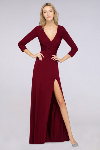 A-Line Spandex V-Neck Long-Sleeves Side-Slit Floor-Length Bridesmaid Dress with Ruffles_35