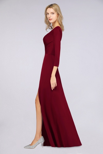 A-Line Spandex V-Neck Long-Sleeves Side-Slit Floor-Length Bridesmaid Dress with Ruffles_37