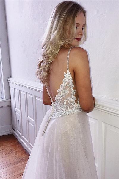 Precious Spaghetti Straps Appliques A-line Prom Dress_2