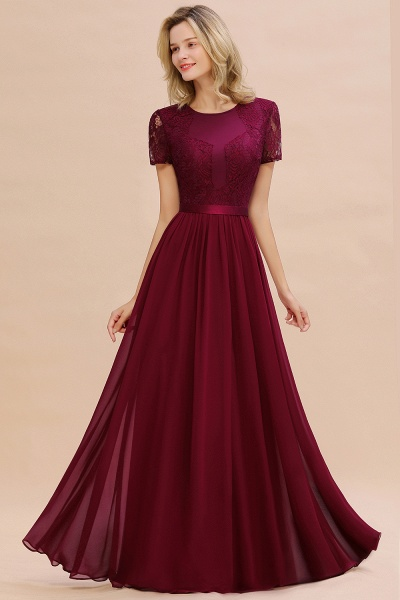 BM0831 Chiffon Lace Scoop Short Sleeve Bridesmaid Dress_53