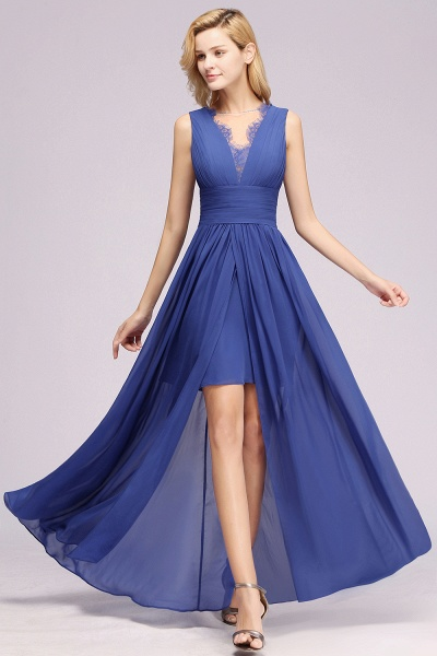 BM0835 Lace Chiffon Jewel Sleeveless Ruffles Short Bridesmaid Dress