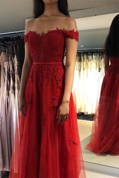 Eye-catching Off-the-shoulder Appliques A-line Prom Dress_2