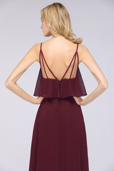 BMbridal Sexy Chiffon V-Neck Burgundy Chiffon Bridesmaid Dresses with Spaghetti Straps_6
