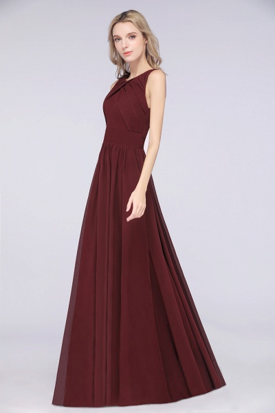 A-Line Chiffon Round-Neck Sleeveless Floor-Length Bridesmaid Dress with Ruffles_4