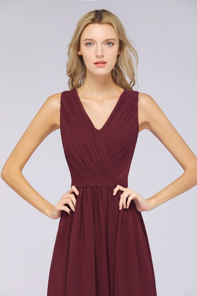 A-Line Chiffon Lace V-Neck Sleeveless Floor-Length Bridesmaid Dress with Ruffles_4