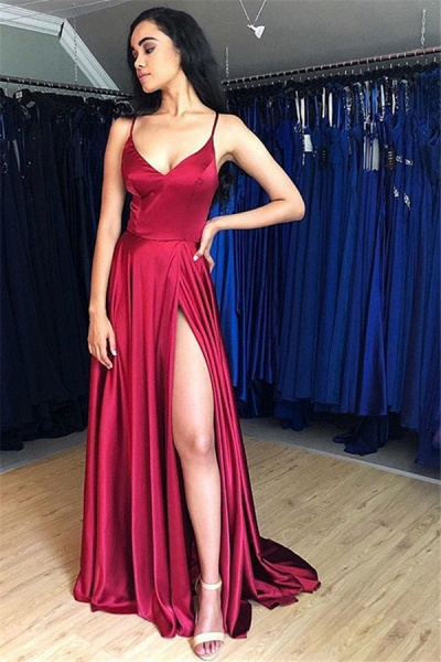 Sleek Spaghetti Straps Split Front A-line Prom Dress_1