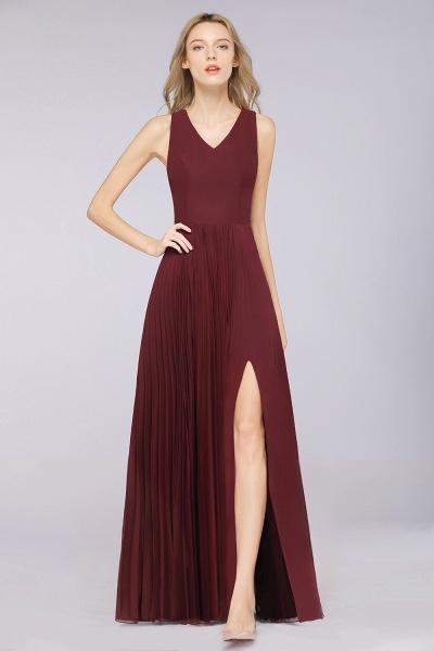 A-Line Satin Chiffon V-Neck Sleeveless Floor-Length Bridesmaid Dress with Ruffles_3