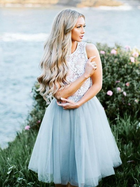 Lace Jewel Sleeveless Homecoming Dress_1