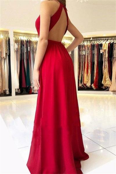 Best Halter Split Front A-line Prom Dress_2