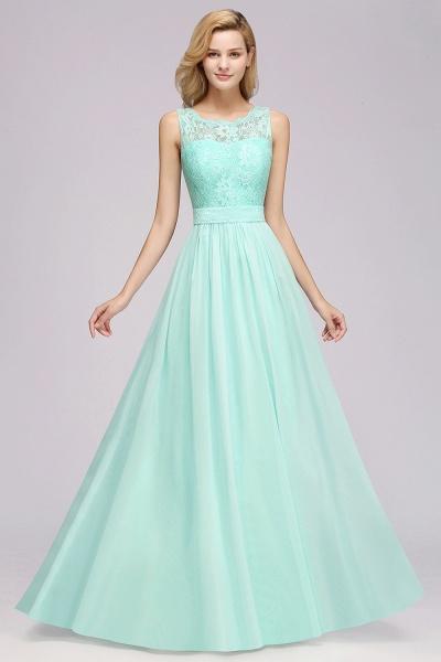 BM0834 Chiffon A-Line Lace Scalloped Sleeveless Long Ruffles Bridesmaid Dress_4