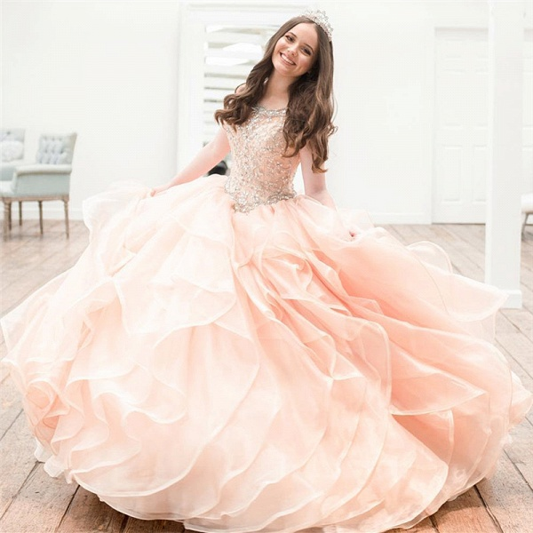 Chic Jewel Organza Ball Gown Quinceanera Dress_1