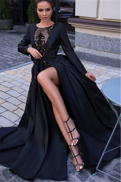 Latest Jewel Split Front A-line Prom Dress_3