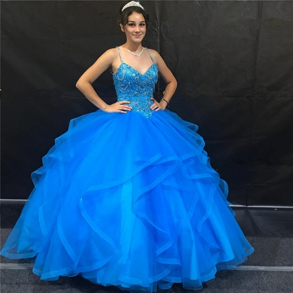 Excellent Spaghetti Straps Tulle Ball Gown Quinceanera Dress_1
