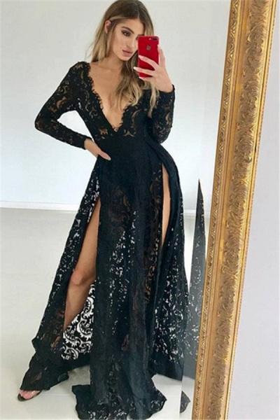 Chic V-neck Split Front A-line Prom Dress_1