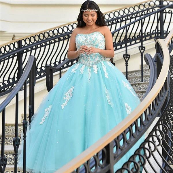 Sleek Strapless Tulle Ball Gown Quinceanera Dress_1
