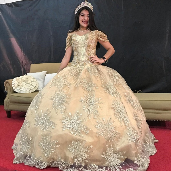 Affordable Off-the-shoulder Tulle Ball Gown Quinceanera Dress_1