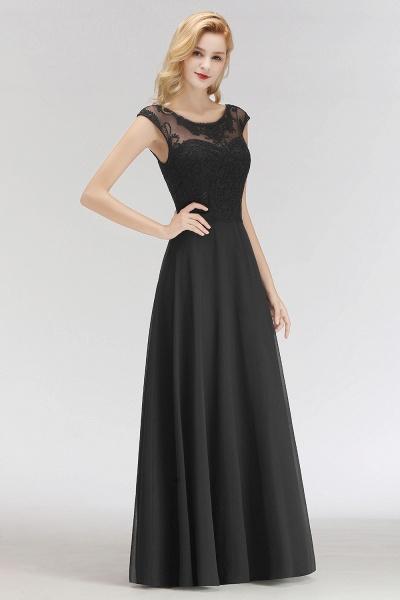 BM0075 Chiffon Scoop Sleeveless Long Lace Bridesmaid Dress_4