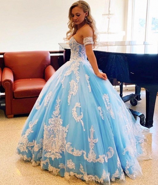 Sleek Off-the-shoulder Tulle Ball Gown Quinceanera Dress_3