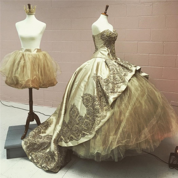 Chic Sweetheart Satin Ball Gown Quinceanera Dress_2