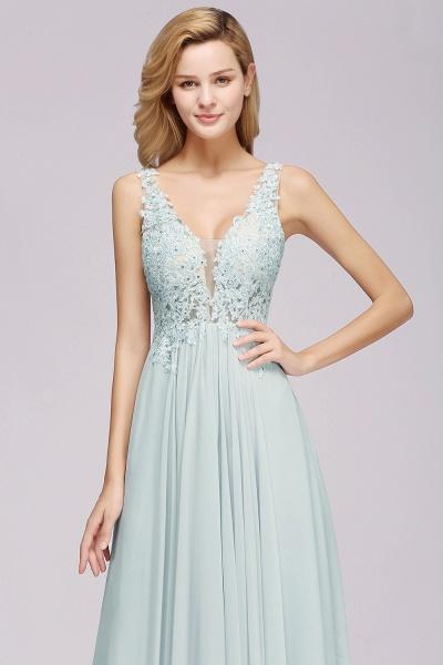 BM0833 Sexy Chiffon Beaded Lace V-Neck Sleeveless Long Bridesmaid Dress_6