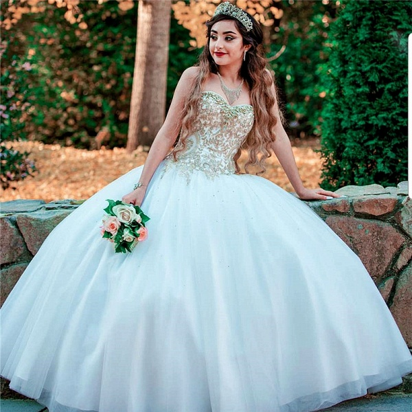 Marvelous Sweetheart Tulle Ball Gown Quinceanera Dress_1