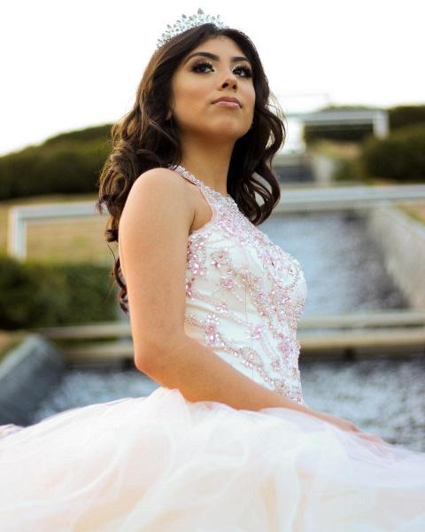 Sleek Jewel Tulle Ball Gown Quinceanera Dress_3