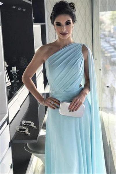 Modest One Shoulder A-line Evening Dress_3