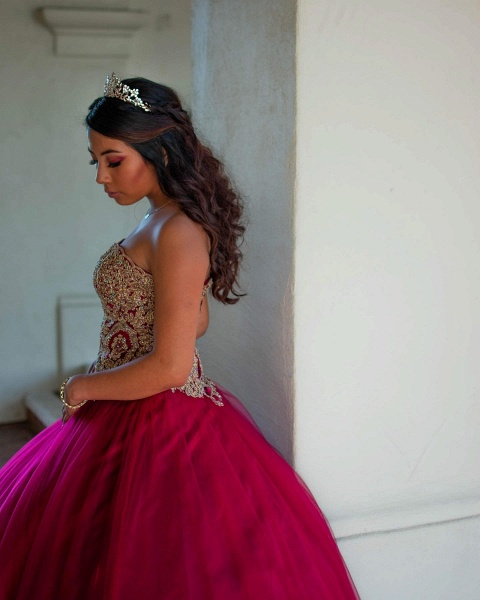 Elegant Sweetheart Tulle Ball Gown Quinceanera Dress_2