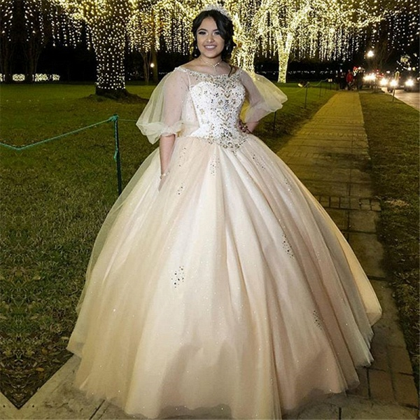 Beautiful Bateau Tulle Ball Gown Quinceanera Dress_1