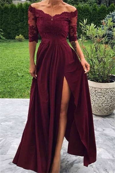 Marvelous Off-the-shoulder Appliques A-line Prom Dress_1