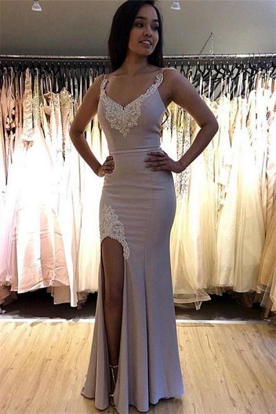 Best Spaghetti Straps Split Front Mermaid Prom Dress_1