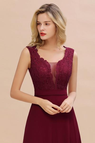 Elegant A-line Chiffon Lace V-Neck Sleeveless Floor-Length Bridesmaid Dress_7