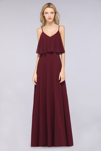 BMbridal Sexy Chiffon V-Neck Burgundy Chiffon Bridesmaid Dresses with Spaghetti Straps