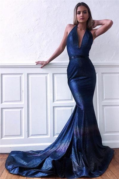 Best Halter Ribbons Mermaid Prom Dress_1