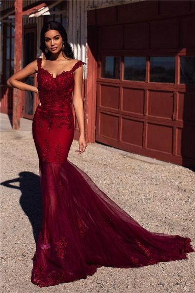 Sleek Straps Appliques Mermaid Prom Dress_4