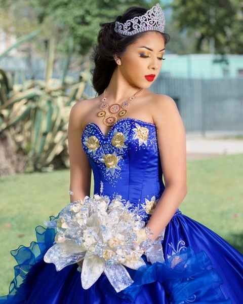 Fabulous Royal Blue Sweetheart Embroidery Ball Gown Quinceanera dresses_3
